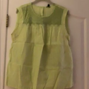 J Crew green cotton top with smocking detail